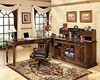 Ashley Furniture Signature Design - Hamlyn Home Office Desk Chair - Faux Leather Swivel Chair - Medium Brown