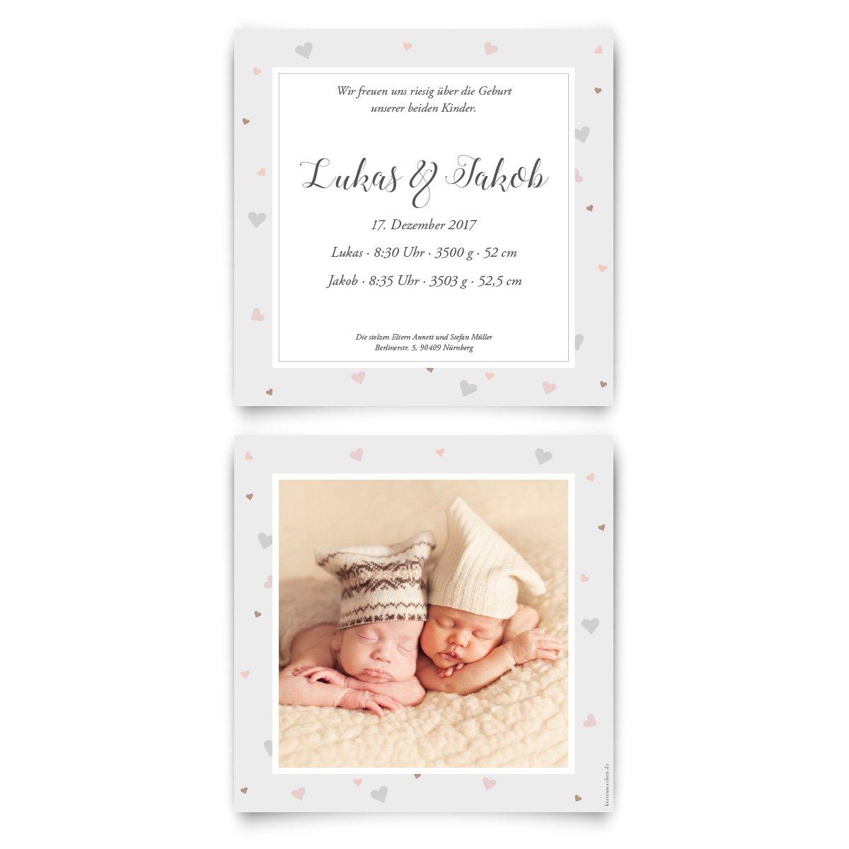 Geburtskarten (30 Stück) - Zwillinge mit Herzrahmen - Geburt ...