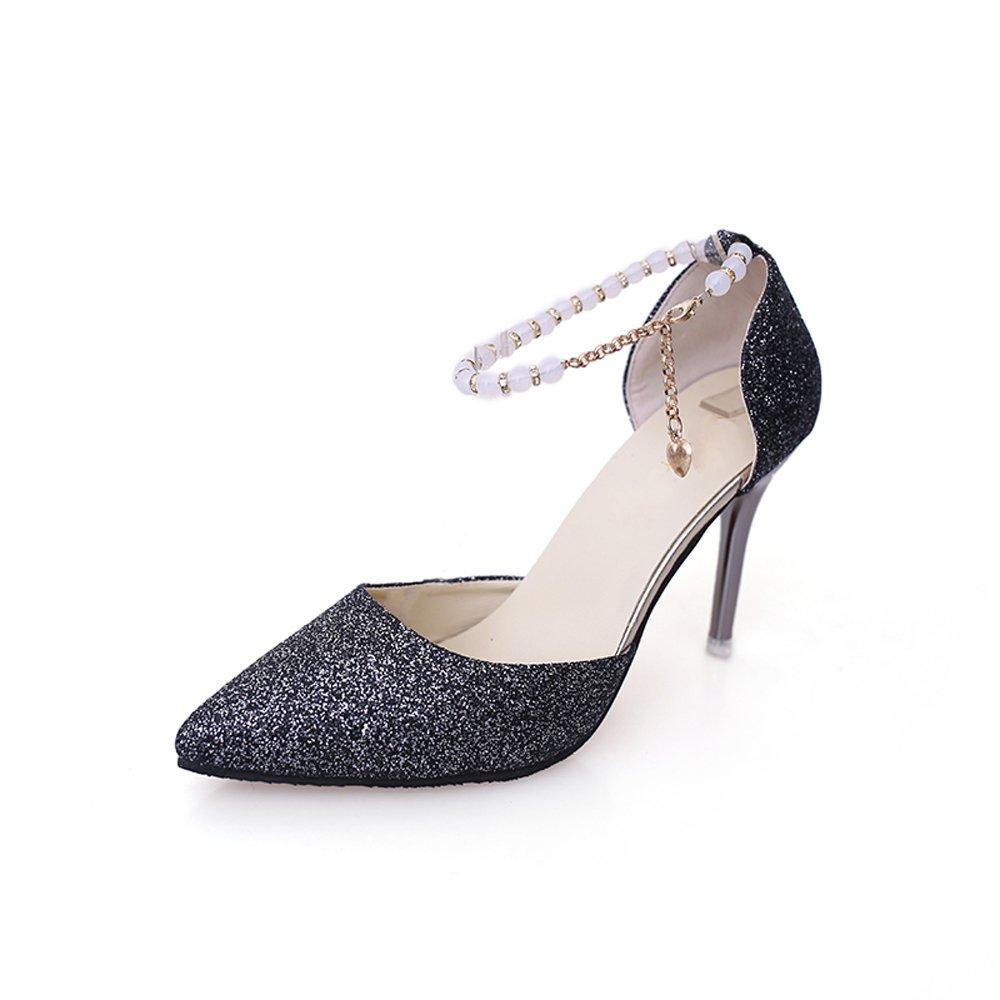 Damens Es High Heels Stoff Stoff Heels Sexy Flachen Mund Spitze Stiletto Heels Sandalen Brautjungfer Schuhe Braut Hochzeit Schuhe Kristall Schuhe Pumps schwarz Heel High 10 Cm - 499197