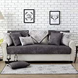 Lesic 100% Cotton Dark Gray Couch Cover Anti-slip Concise Style Sofa Protector, 36X95inches(90X240cm) …