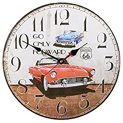 Silent Non-Ticking Decorative Wooden Wall Clock by SkyNature (14 in, Cars)