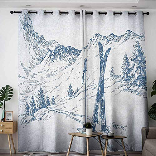(AGONIU Grommet Window Curtains,Winter Sketchy Graphic of a Downhill with Ski Elements in Snow Relax Calm View,Blackout Window Curtain 2 Panel,W96x72L Blue White)