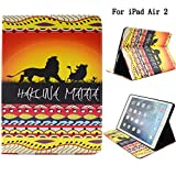 lion air - iPad Air 2 Case, iPad 6 Case, Newshine [Coloured Paintings Design] Cute Synthetic Leather [Stand Feature] Flip Wallet Case Cover for Apple iPad Air 2 / iPad 6 (2014 Release) (Lion King)