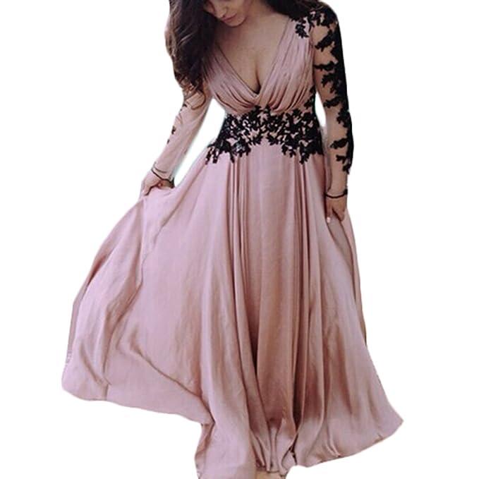 72677edda3 Tomayth Mujeres Cuello V Vestidos de Fiesta Vestido Largo Retro de Flores  Encaje Manga larga Plisado