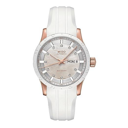 Mido Multifort M0188303711600 - Reloj para Mujeres, Correa de Silicona Color Blanco: Amazon.es: Relojes