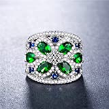 Gorgeous Women 925 Silver Jewelry Emerald & White Sapphire Wedding Ring Size 6-8 (7)