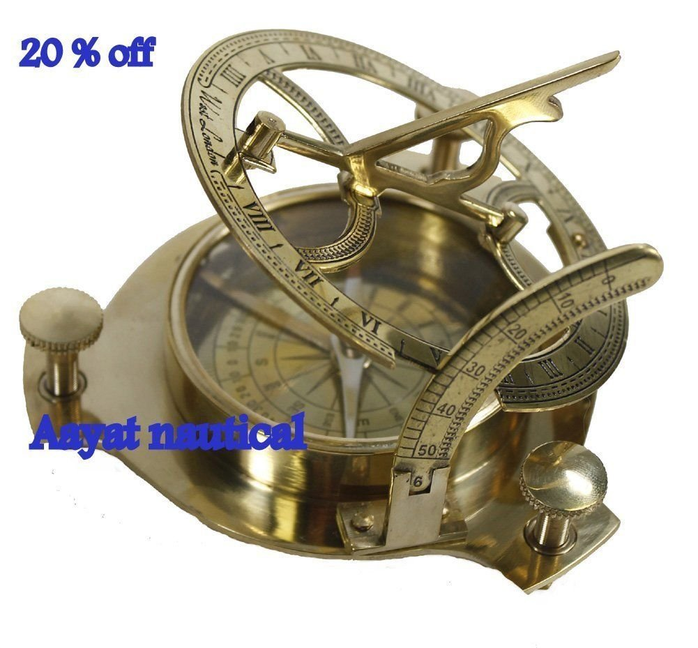 4'' Sundial Compass - Solid Brass Sun Dial Nice Gift 20 % Off