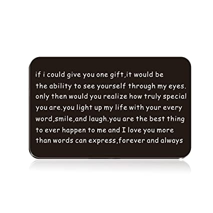 Husband Anniversary Gift for Him - Engraved Wallet Inserts - Perfect  Birthday Gifts for Men! Metal Wallet Card Love Note, Anniversary Gifts for  Men,