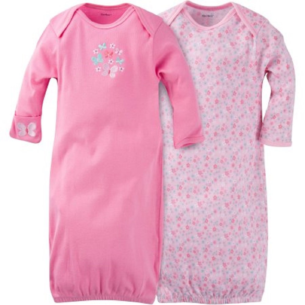 Amazon.com: Gerber Baby Girls\' 2 Pack Nightgowns Pink Flowers 0-6M: Baby