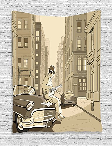 Wall Street Gift Ideas (Jazz Music Decor Tapestry by Ambesonne, Illustration Of A Guitarist In An Old Street Of New York Buildings Music Cityscape , Bedroom Living Room Dorm Decor, 40 W x 60 L Inches, Beige)