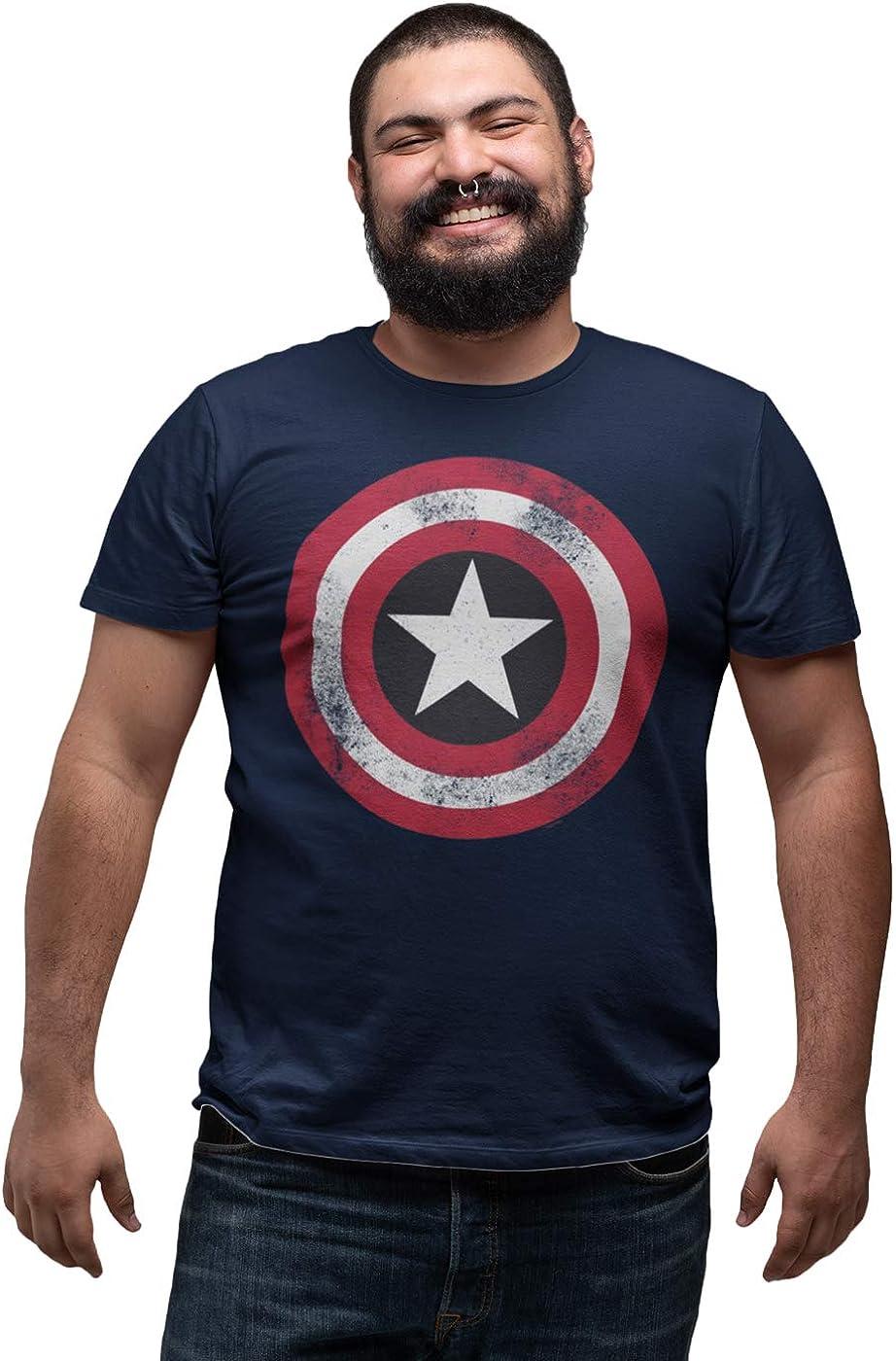 Marvel - Camiseta para hombre con escudo envejecido del Capitán América
