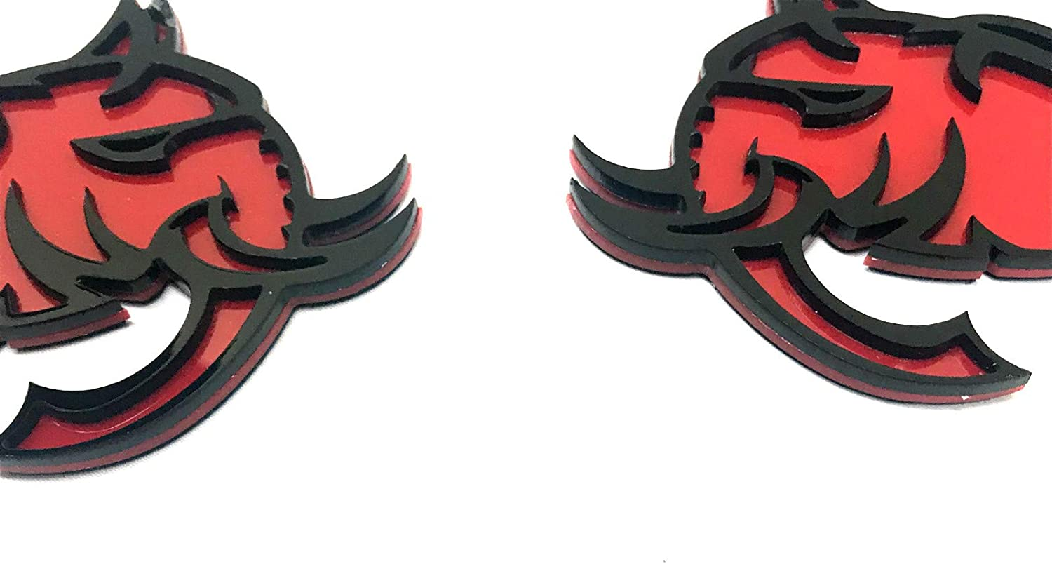 Mulistory Costume Pair Black Red 426 Hellephant Head Fender Left//Right Emblems Badges Fits For Challenger Charger Badge