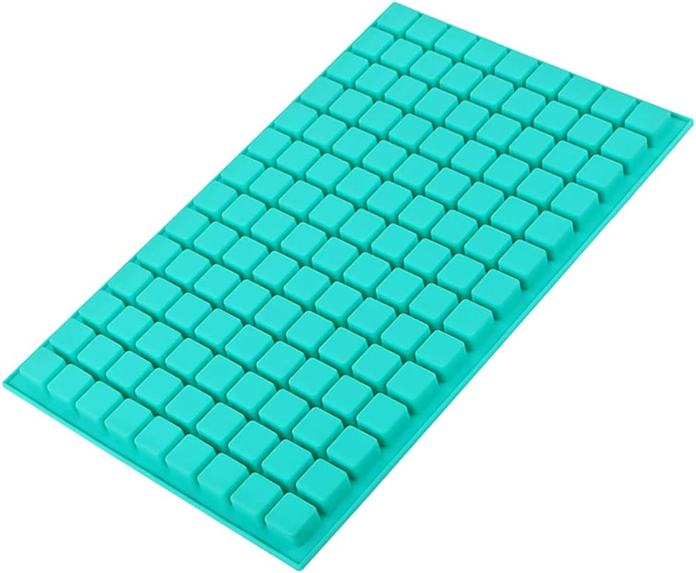 Webake Chocolate Molds 126 Cavity Square Silicone Mini Candy Mold 1 Pack Hard Candy Molds For Gummy, Ice Cube, Jelly, Truffles, Pralines Caramels, Mint(European Food Grade Standard)