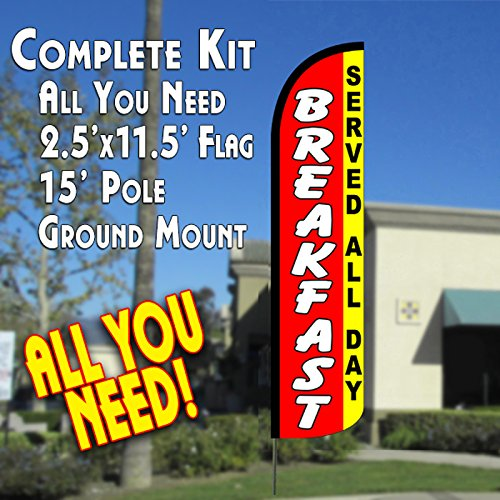 Breakfast Kit (BREAKFAST (Served All Day) Windless Feather Banner Flag Kit (Flag, Pole, & Ground Mt))