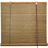 Oriental Furniture Burnt Bamboo Roll Up Blinds - Multi-Color - (24 in. x 72 in.)