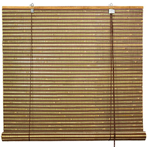 Oriental Furniture Burnt Bamboo Roll Up Blinds - Multi-Color - (72 in. x 72 in.)