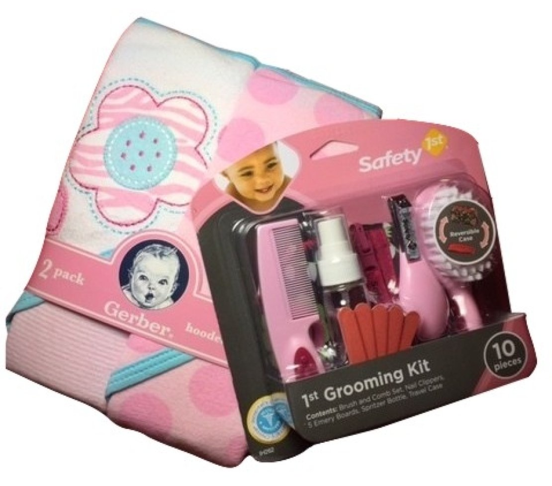 Amazon.com : Baby Girl Gift Bundle - 2 Items: Gerber 2-pack Pink Terry Hooded Towels and Safety 1st Grooming Kit : Baby