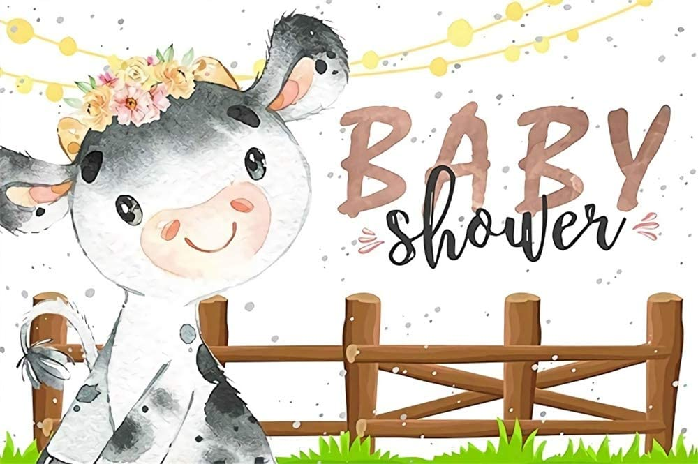 AOFOTO 6x4ft Baby Shower Backdrop Cute Cartoon Dairy Cattle Cow Wooden Fence Green Grassland Photography Background Kid Children Vinyl Customized Happy Birthday Party Decor Photo Booth Prop