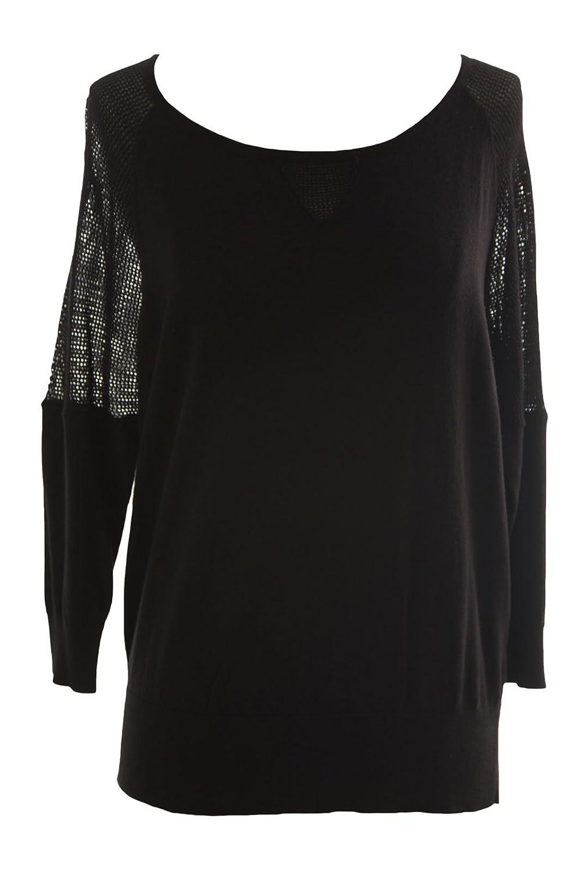 August Silk Women's Petite Black Mesh Inset 3/4 Sleeve Sweater