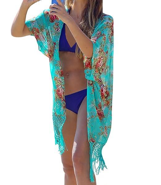 eef9e49e DELEY Mujeres Gasa Kaftan Cardigan Bikini Cover En Vestido De Playa Trajes  De Baño: Amazon.es: Ropa y accesorios