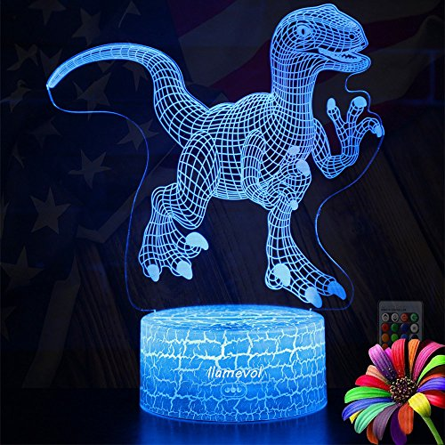Dinosaur Night Lights for Kids Christmas Gift Birthday Indoraptor Toy 3D Illusion Lamp Led Animal Light Gifts for Boys Home Bedroom Party Supply Decoration 7 Color Blue Remote Raptor (raptor1remote) by LLAMEVOL