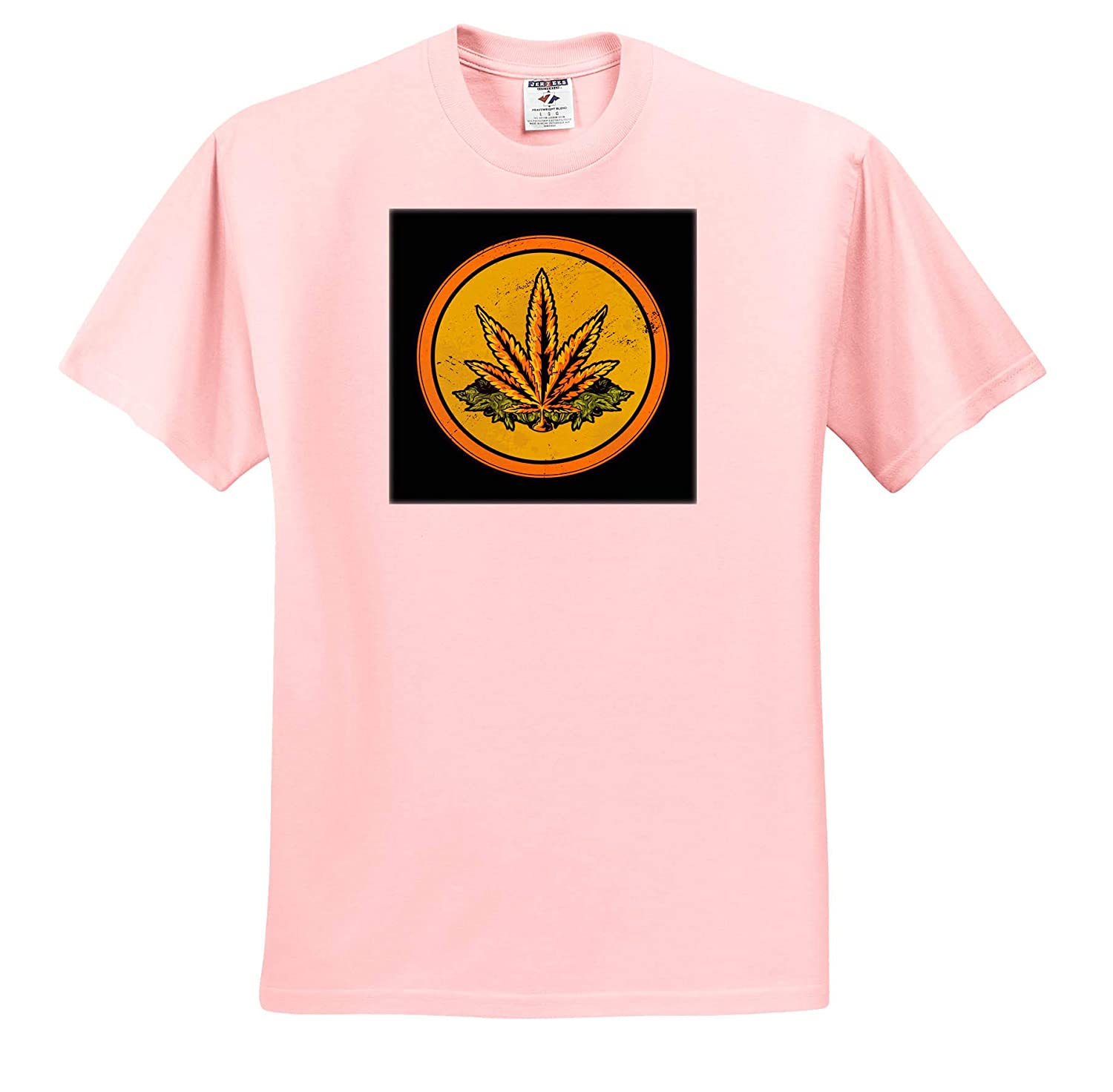 Adult T-Shirt XL ts/_316083 Yellow Circle with Cannabis Weed Leaf 3dRose Sven Herkenrath Cannabis