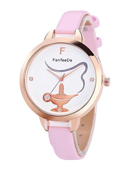 Para mujer reloj de cuarzo, poto jy-209 2017 hembra diseño de mujer piel sintética analógica muñeca reloj de pulsera regalo: Amazon.es: Relojes