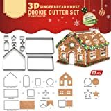 3D Christmas Gingerbread House Cookie Cutters,Festive Xmas House Cookie Cutter Mold Set,Gingerbread House Kit,DIY Baking Past