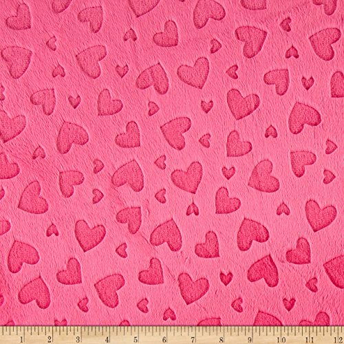 (Shannon Fabrics Shannon Minky Embossed Heart Cuddle Fuchsia Fabric by The Yard,)