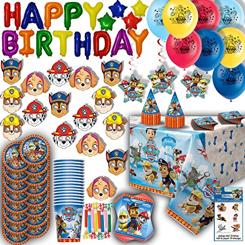 Supply Decorations (Paw Patrol Party for 16 - Plates, Cups, Napkins, Birthday Hats, Balloons, Inflatable HAPPY BIRTHDAY Banner, Masks, Loot Bags, Hanging Swirls, Tattoos, Table Cover, Blowouts - Decorations + Supplies)