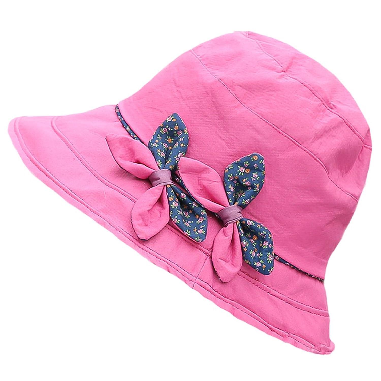 Womens Summer Beach Cotton Bowknot Big Brim Sun UV Boonie Floppy Hat Cap Visor