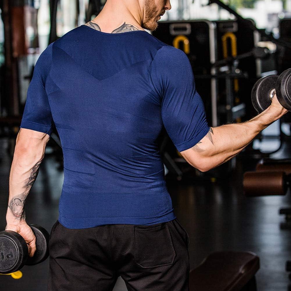 Homme Caidi Homme T Shirt Gainant Musculation Top Amincissant Ventre Plat Maillot De Corps Stretch L Noir Vêtements Mariannadellekamp Com
