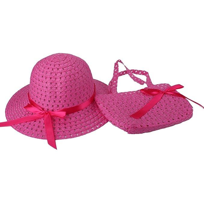 c7735e991bc2 Girls Sun Straw Hat Handbag Set Children Tea Party Summer Beach Caps Dress  up Hat Purse Sets (9204 Hot Pink): Amazon.co.uk: Clothing