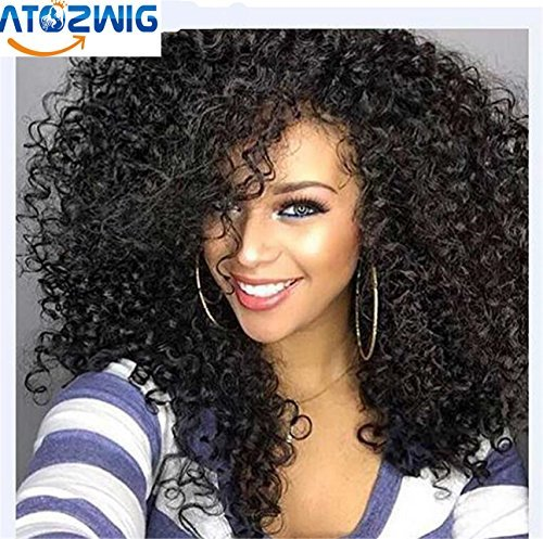 Synthetic Wigs Black Natural Colour Heat Resistant Kinky Curly 100% Heat Resistant Fiber Kinky Curly Free Style 24