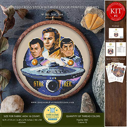 - Star Trek #K060 Embroidery Cross Stitch Kit | Stars Cross Stitch Kits | Embroidery Kits | Cross Stitch Designs | Counted Cross Stitch