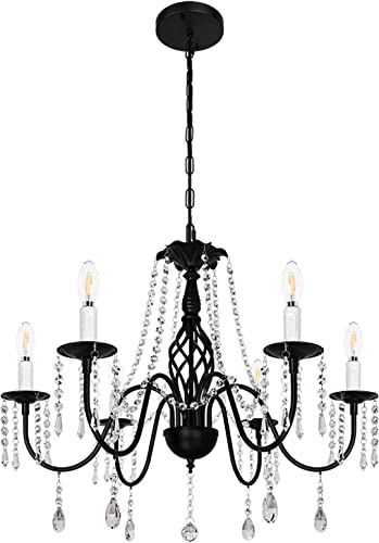 MIPAWS-Modern 6-Light Crystal Chandelier Black Farmhouse Pendant Light Classic Retro Ceiling Light Fixture