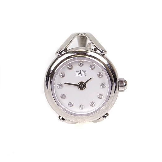 a94632585798 Davis Sofía Tómate tu tiempo blanco y plata cristal ajustable Ladies Womens  dedo anillo reloj  Amazon.es  Relojes