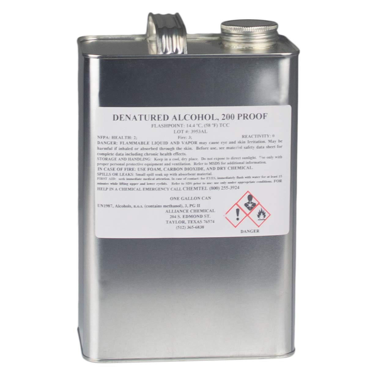Denatured Alcohol 200 Proof - One Gallon Can by Alliance Chemical