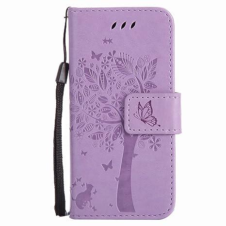 Yiizy Funda Tapa Apple iPod Touch 5 / Touch 6, Árbol y Gatos Repujado Diseño