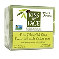 Kiss My Face Naked Pure Olive Oil bar Soap, 4oz Bars, 3Count,, () (0100461)