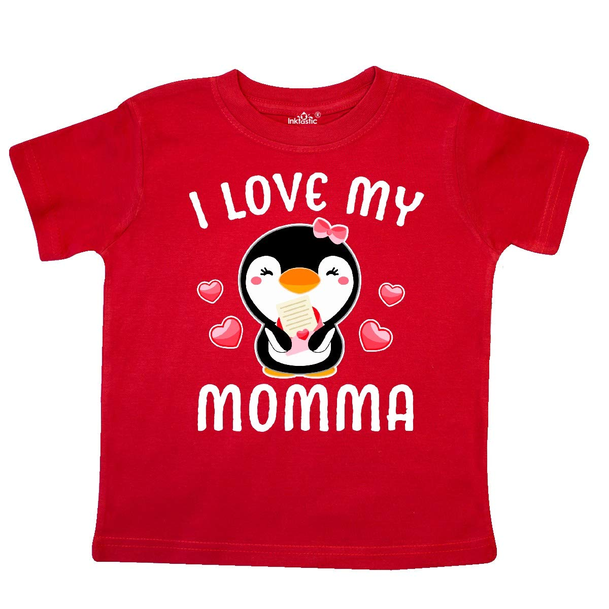 inktastic I Love My Momma with Cute Penguin and Hearts Toddler T-Shirt