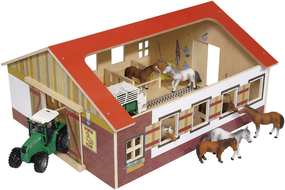 Eichhorn 100004339 Holz Pferdehof, 7 teilig, ohne Pferde
