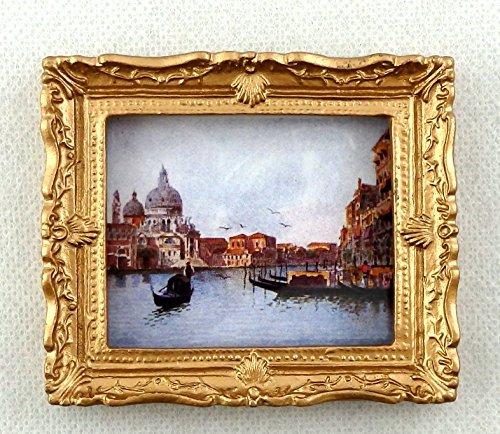 最高 Dolls House Scene Miniature Accessory Venice Canal Scene Picture Painting Painting Gold Gold Frame B01D4X7192, 開運百貨店:1910d4cf --- diceanalytics.pk
