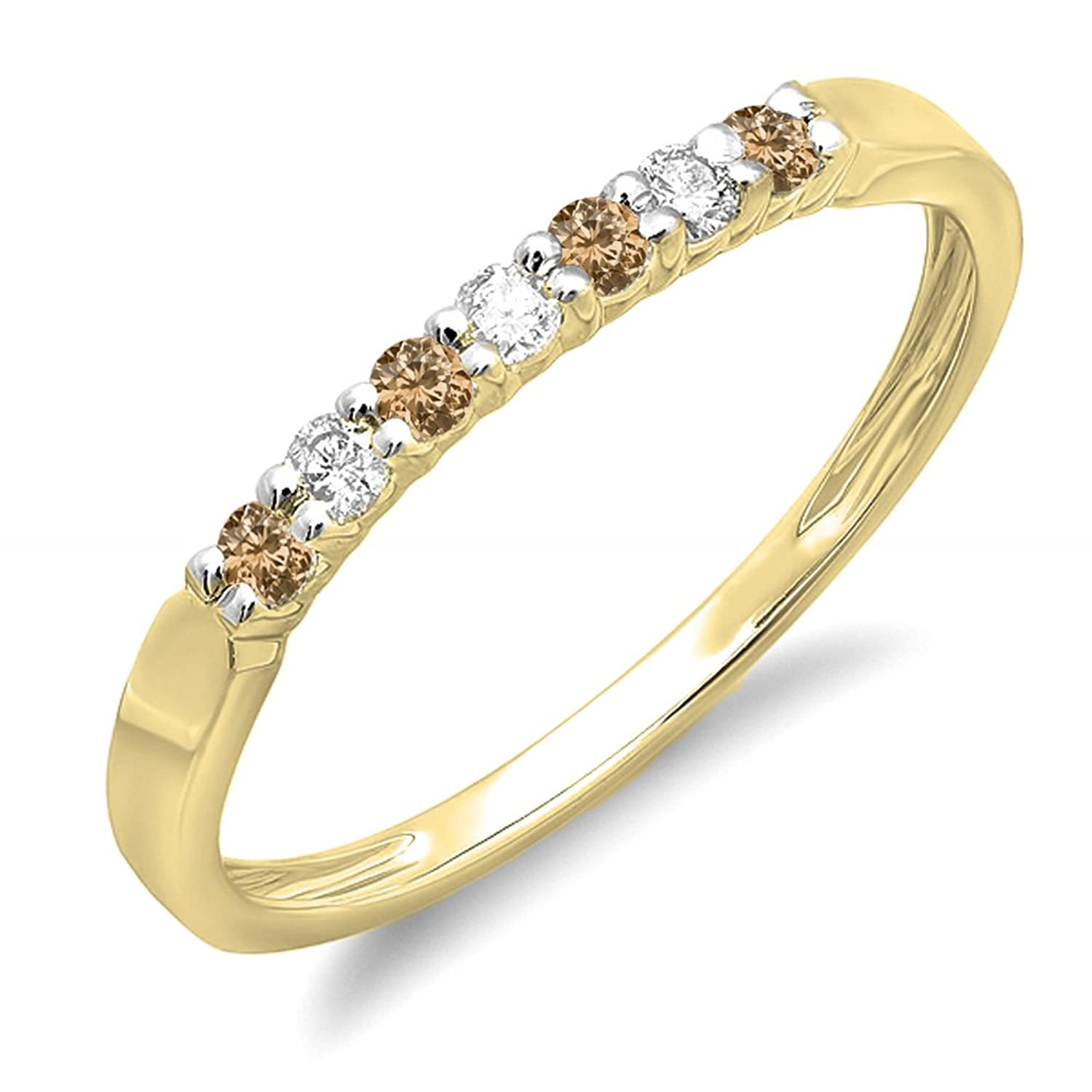 0.25 Carat (ctw) 10K Gold Round Champagne & White Diamond Ladies 7 Stone Wedding Stackable Band 1/4 CT