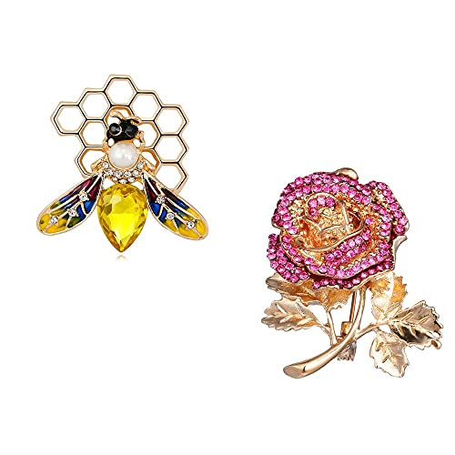 3346b5aaf3f Dwcly Fashion Yellow Enamel Bumble Bee with Honeyhive Brooches for Women  Rhinestone Honeybee Bee Broach Pin