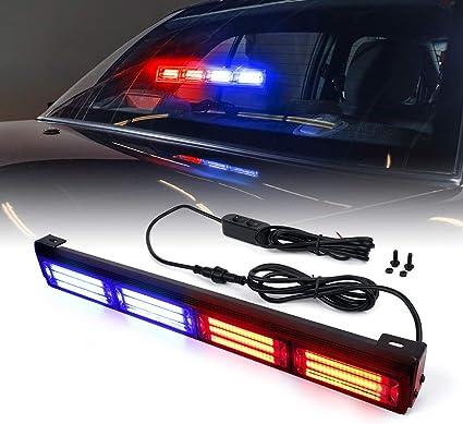 9 inch COB Red Blue Light Emergency Warn Strobe Flash Bar Hazard Security Car