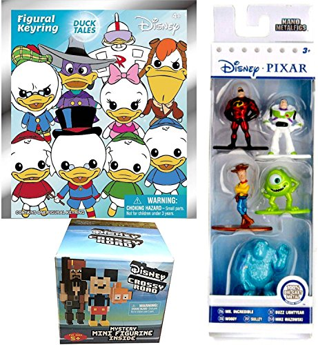 AYB Products Character Figure Pack Nano Woody Toy Story Buzz / Mr. Incredible / Pixar Monsters Inc. Sulley & Mike Metal & Crossy Roads Blind Box Mystery & Ducktales Figural Keyring 3D hanger