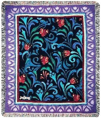 Jim Shore Midnight Blooms Tapestry Throw