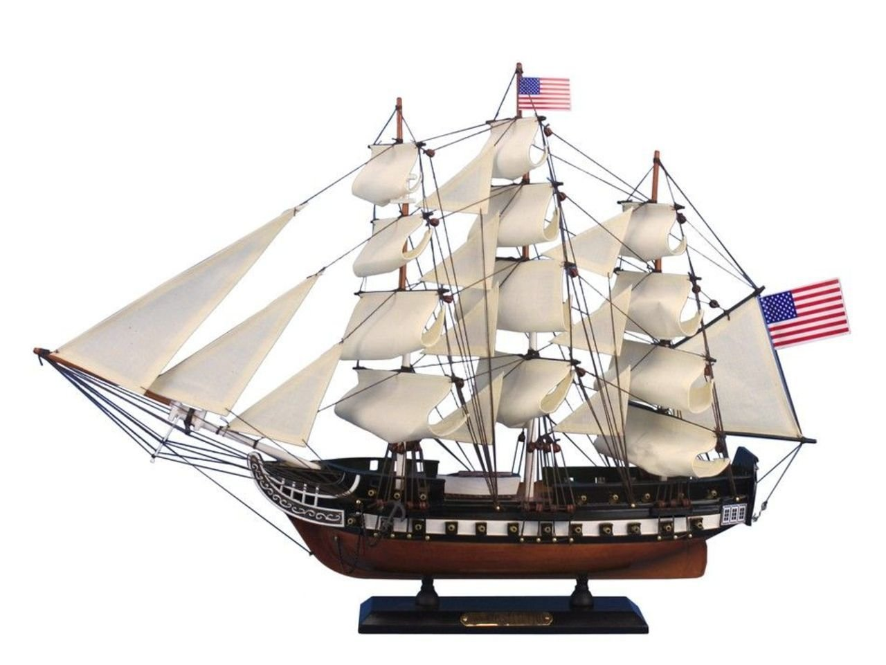Hampton Nautical Wooden USS Constitution Tall Model Ship, 24''