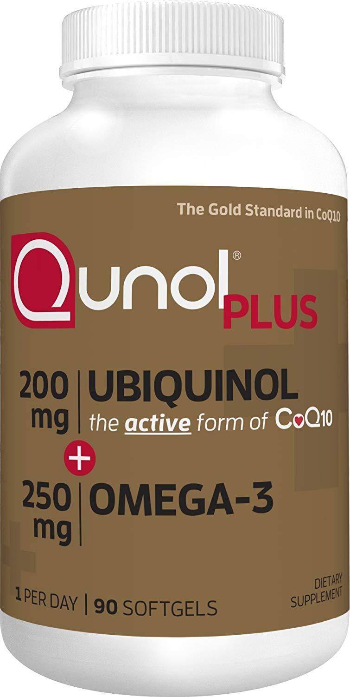 Qunol Extra Strength 200mg Ubiquinol Plus Omega 3, 90 Count